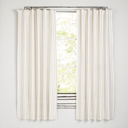 Early Edition Curtains (Khaki) - 63 Khaki Stripe Early Edition Curtain (Sold Individually)