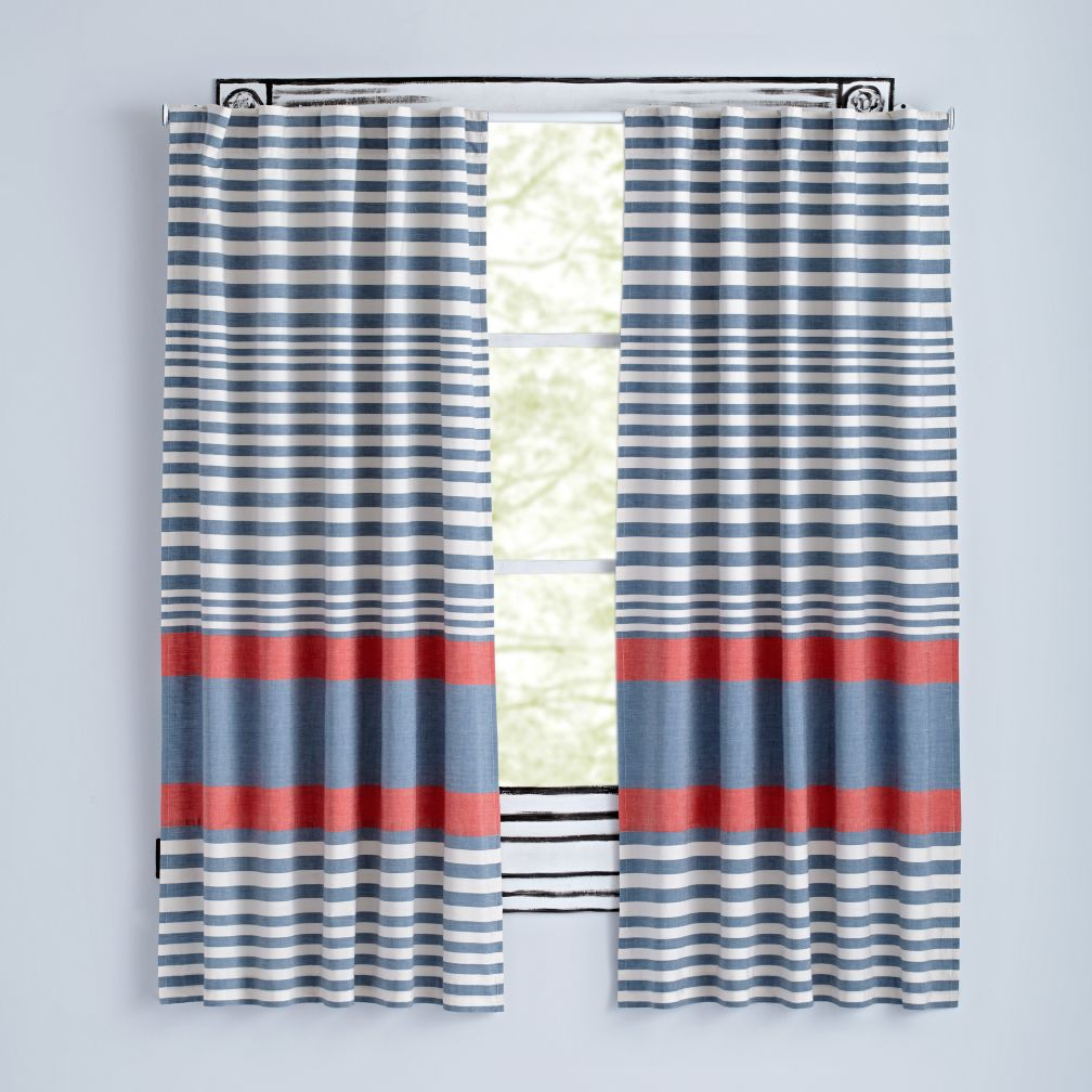 "84"" Red Fine Lines Curtain"