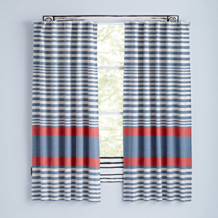 63 Red Fine Lines Curtain(Sold Individually)