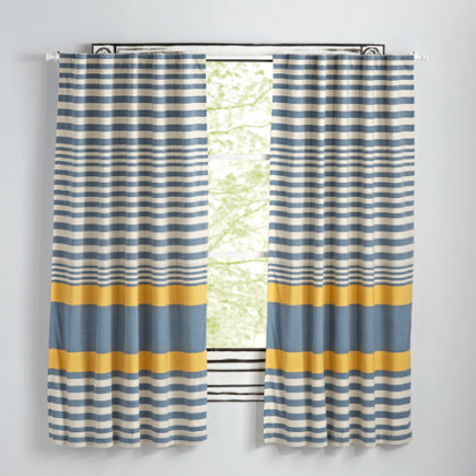 63 Yellow Fine Lines Curtain(Sold Individually)