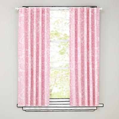 "84"" Pink Floral Curtain Panels"