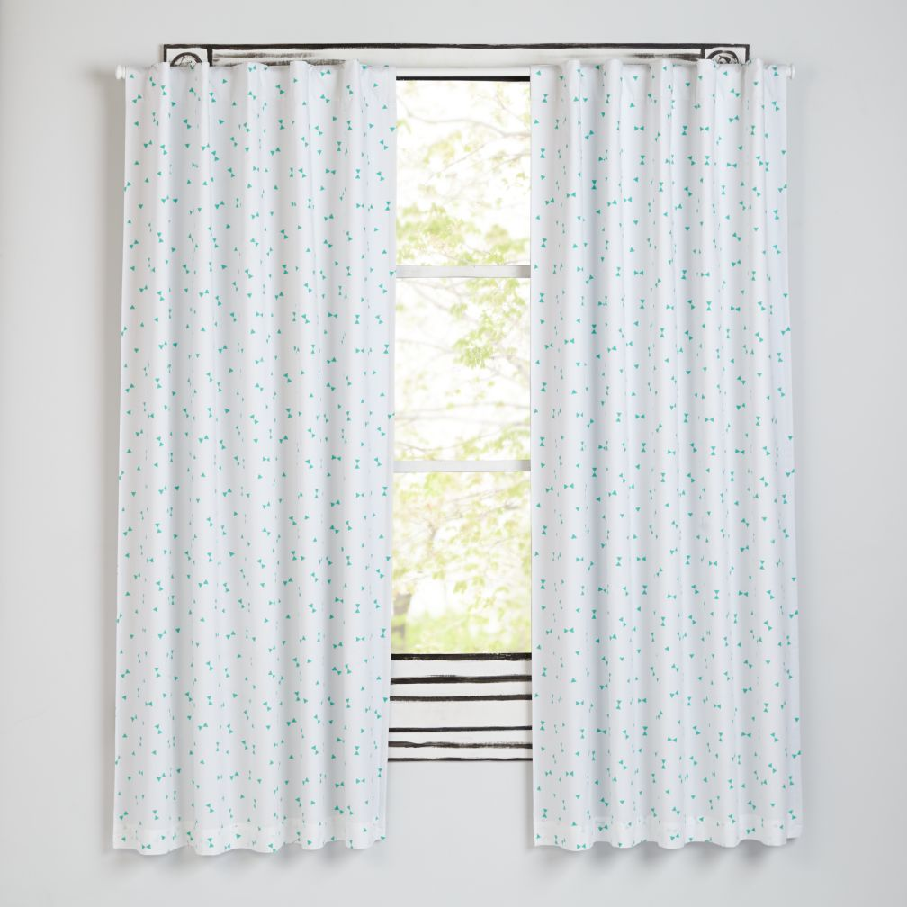 "Go Lightly Mint Triangle 84"" Blackout Curtain"