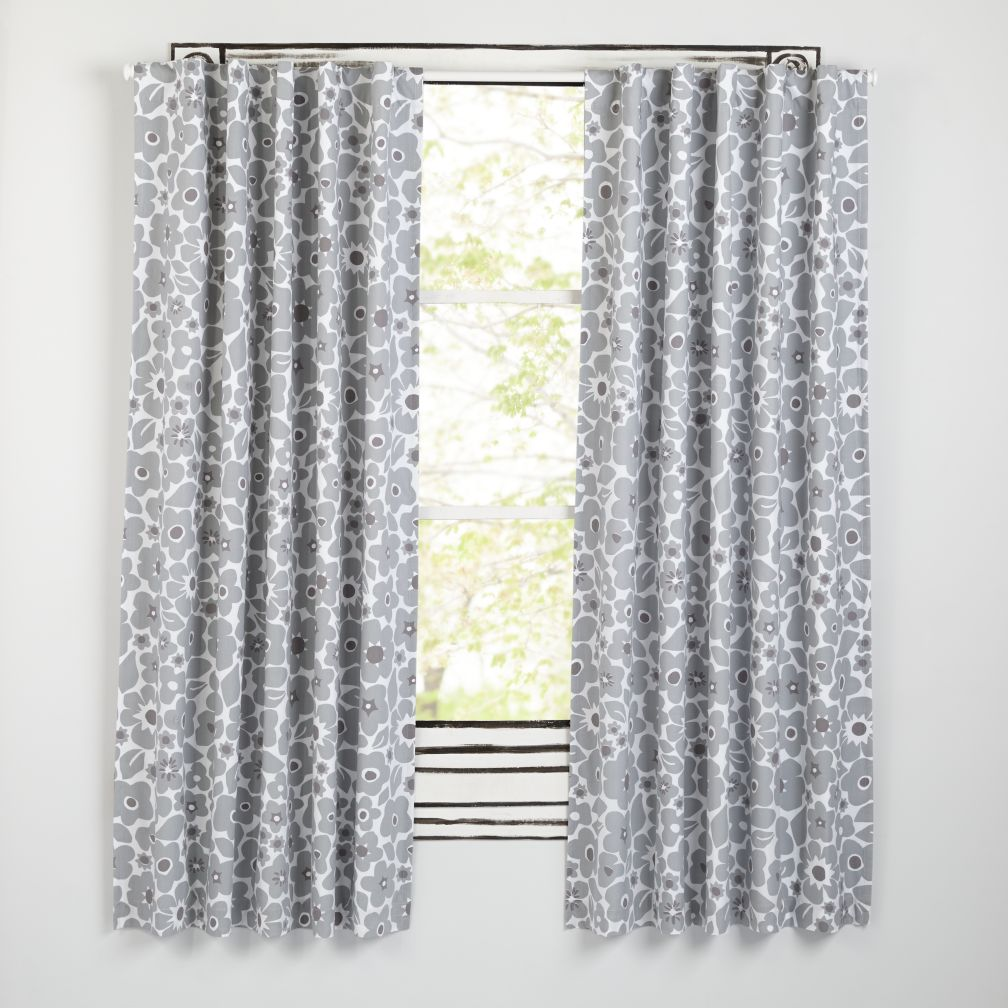 "84"" Go Lightly Blackout Curtain (Grey Floral)"