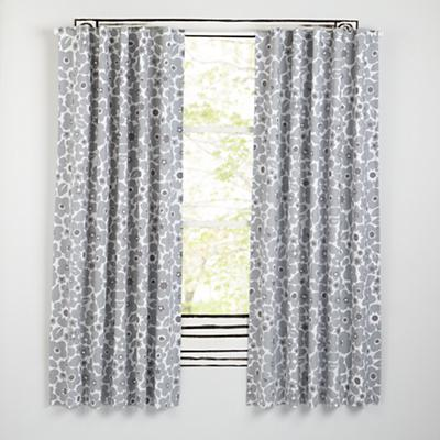 "63"" Go Lightly Blackout Curtain (Grey Floral)"