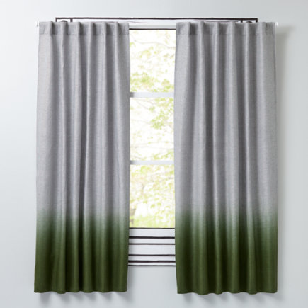 Line Up Striped Linen Curtains (Green) - 63 Green Half Dipped Curtain