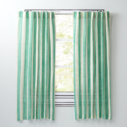 Line Up Striped Curtain Panels (Green) - 63 Green Line Up Curtain