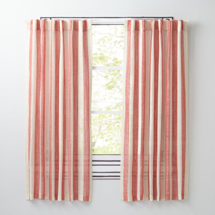 Line Up Striped Curtain Panels (Red) - 63 Red Line Up Curtain