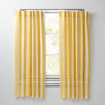 Line Up Striped Linen Curtains (Yellow) - 63 Yellow Line Up Curtain