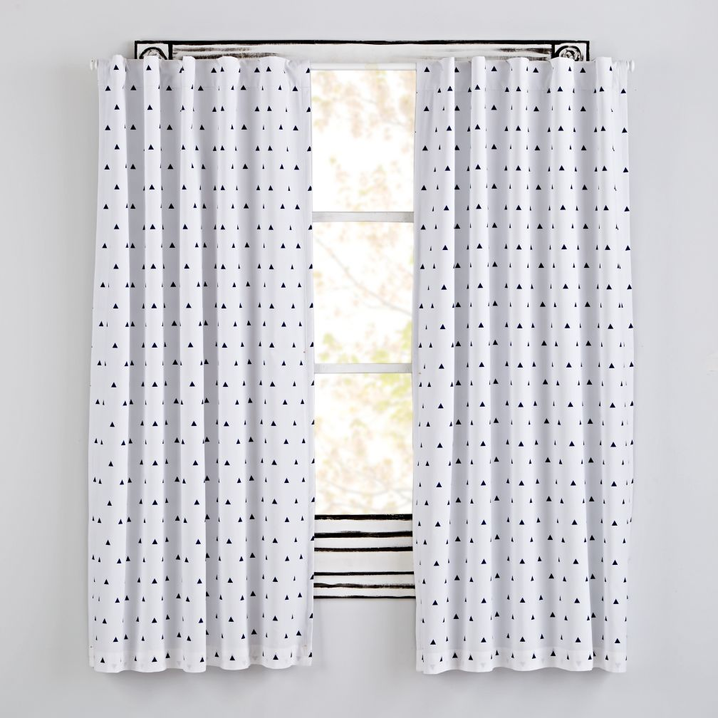 Little Prints Blackout Curtains (Blue Triangle)