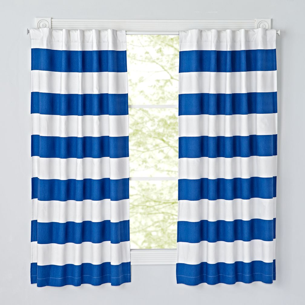 Cabana Stripe Blue Blackout Curtains (Set of 2)