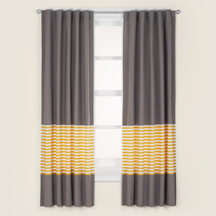 Kids Curtains: Kids Grey & Yellow Curtain Panels - 63 Yellow Striped Curtain(Sold individually)