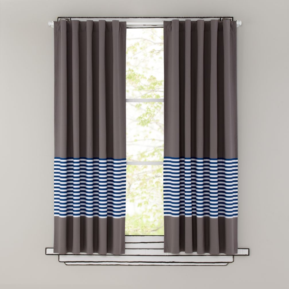 Kids Curtains Blue Stripe Grey Window Curtains The Land