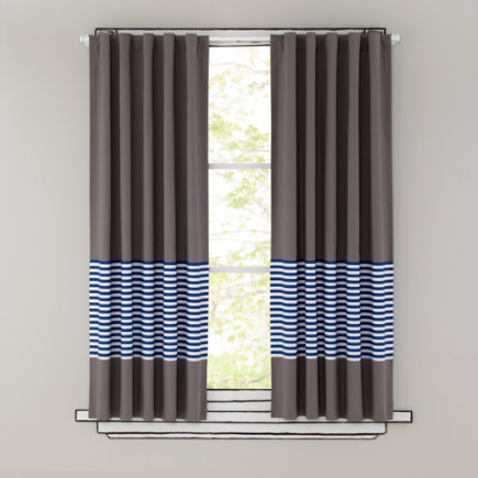 Kids Curtains: Blue Stripe Grey Window Curtains - 63 Blue Striped Curtain(Sold individually)