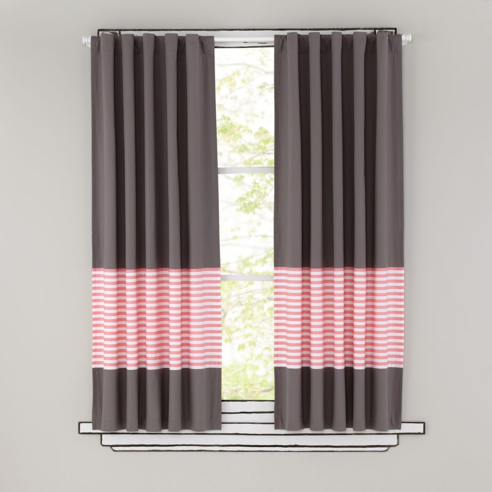 . Kids Curtains  Pink Stripe Grey Window Curtains   The Land of Nod