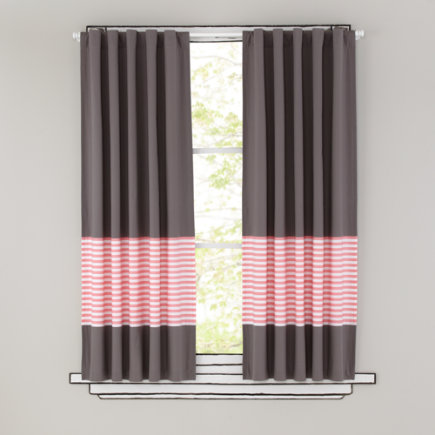 Kids Curtains: Pink Stripe Grey Window Curtains - 63 Pink Striped Curtain(Sold individually)