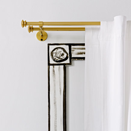 28-48 Gold Double Curtain Rod