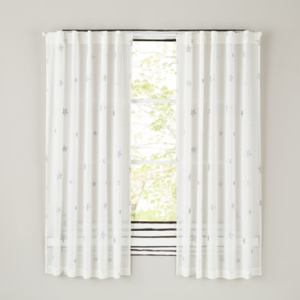 Silver Star Curtain Panels - 63 Silver Star Curtain
