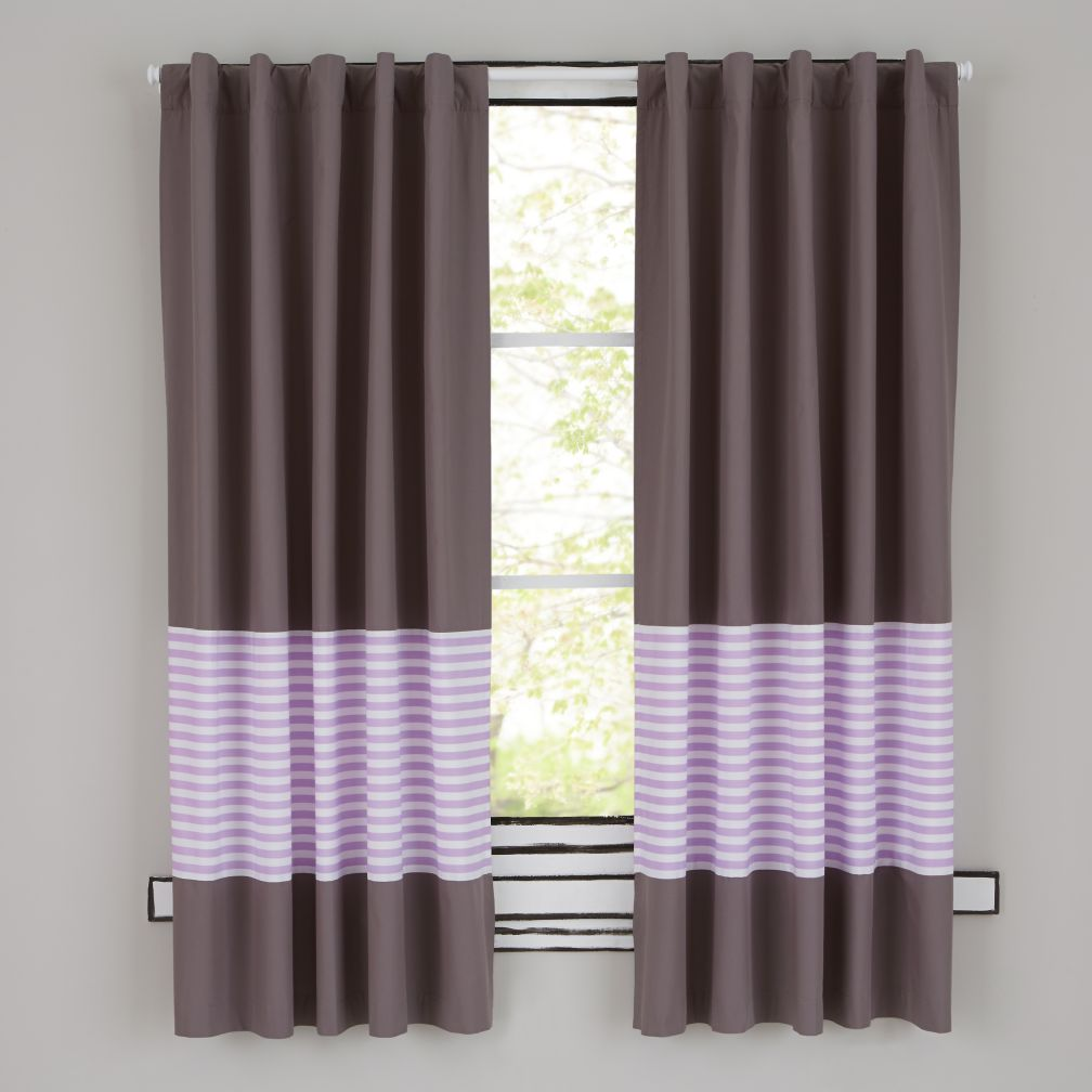 New School Curtains (Purple Stripe)