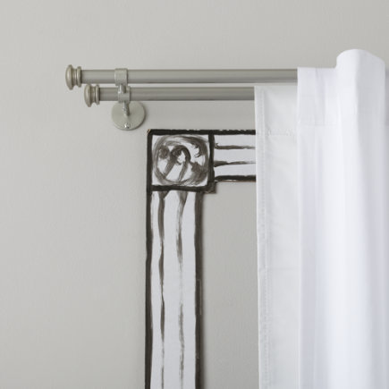 Curtain Accessories: Nickel Button Cap Double Curtain Rod - 28-48 Nickel Double Curtain Rod