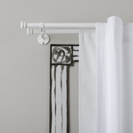 Curtain Accessories: White Button Cap Double Curtain Rod - 28-48 White Double Curtain Rod