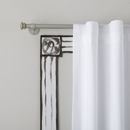 Curtain Accessories: Nickel Button Cap Single Curtain Rod - 28-48 Nickel Button Cap Single Rod