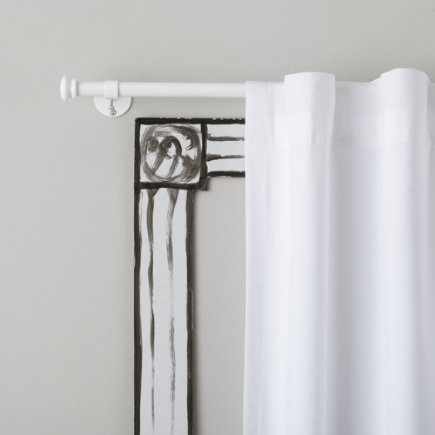 Curtain Accessories: White Button Cap Single Curtain Rod - 28-48 White Button Cap Single Rod