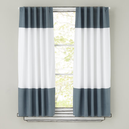 Kids Curtains: Grey and White Curtain Panels - 63 Grey Color Edge Curtain (Sold individually)