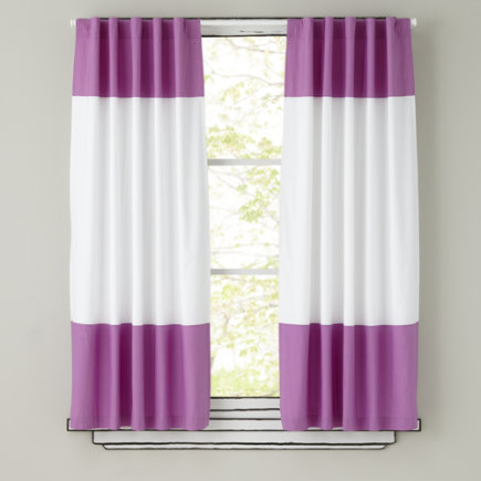 Kids Curtains: Purple And White Curtain Panels   63 Purple Color Edge  Curtain Panel