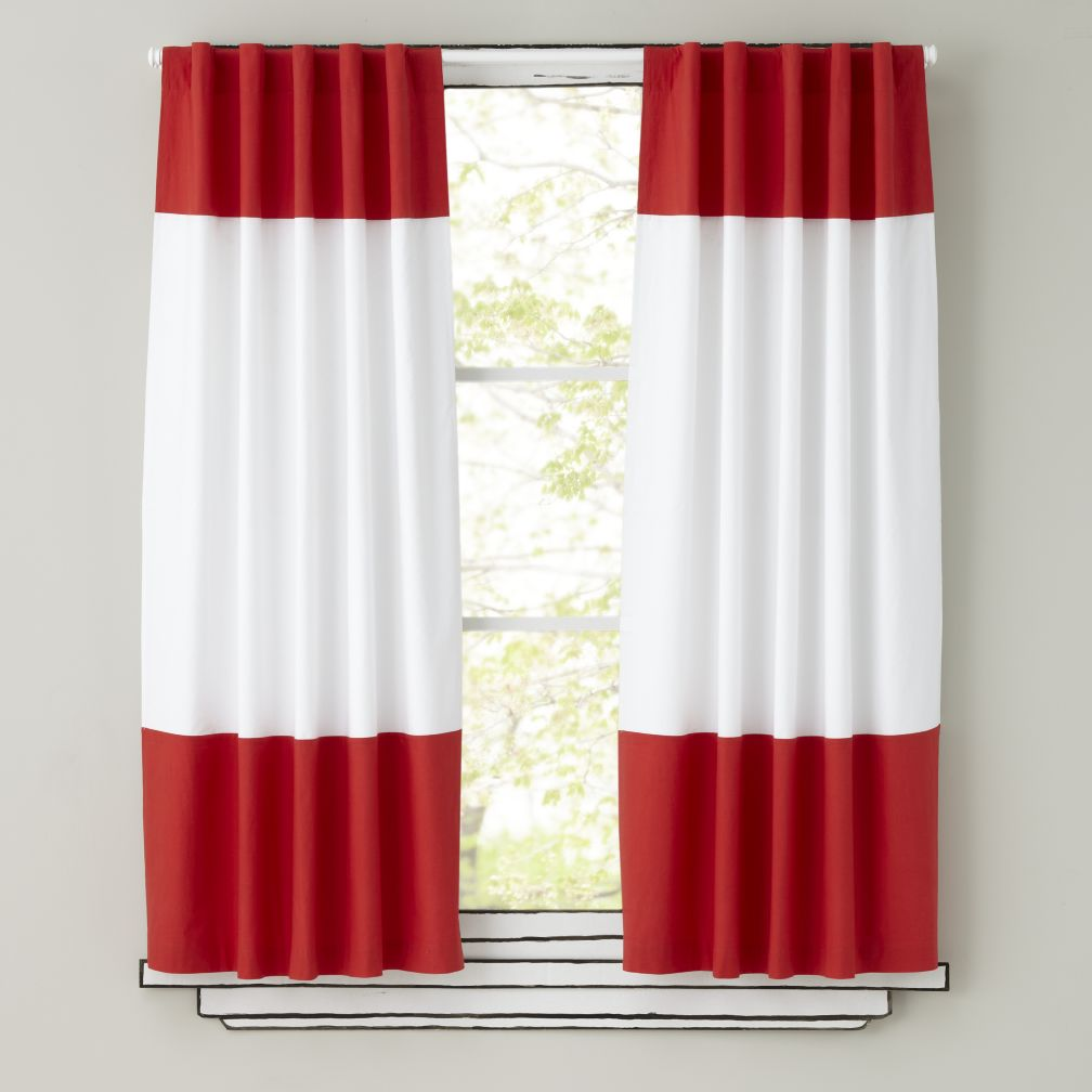 Color Edge Curtains (Red)