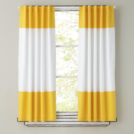 Kids Curtains: Yellow and White Curtain Panels - 63  Yellow Color Edge Curtain (Sold individually)