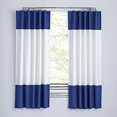 Color Edge Curtains (Dark Blue)