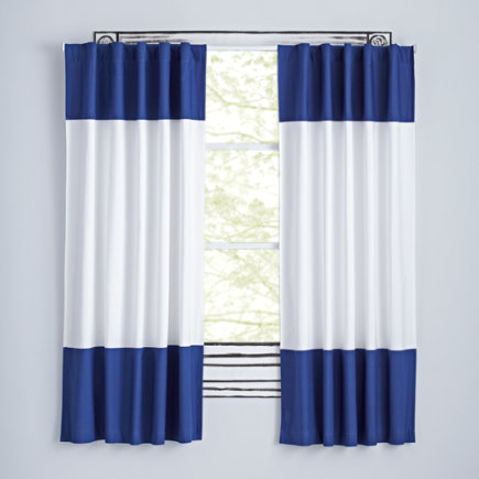 63 Dark Blue Color Edge Curtain(Sold Individually)