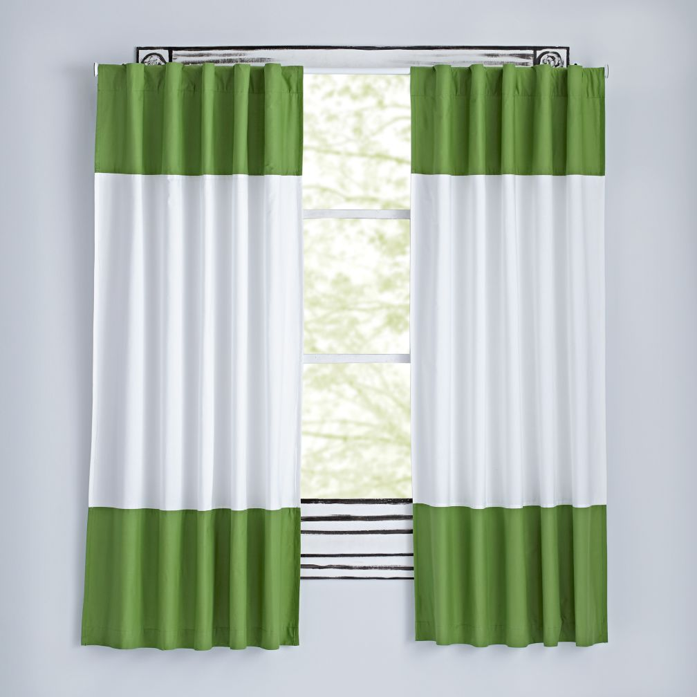 Color Edge Curtains (Dark Green)