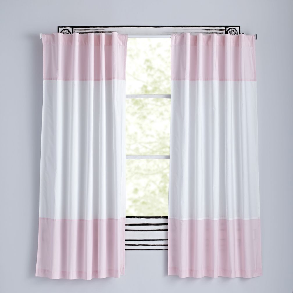 Color Edge Curtains (Light Pink)