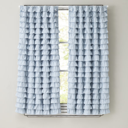 Attractive Kids Curtains: Light Blue Ruffled Curtain Panels   63 Petit Chateau Blue  Ruffle Panel (sold Individually)