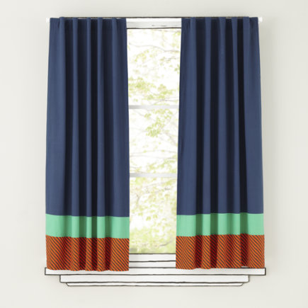 Kids Curtains: Bold Striped Curtain Panels - 63 Transit Authority Panel<br />(sold Individually)