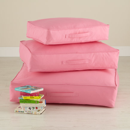 Kids Floor Cushions: Kids Cotton Canvas Floor Cushions - 22 Pink Laying Low Cushion