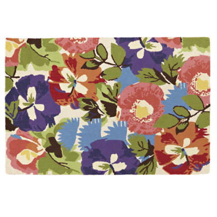 Kids Rugs: Poppy and Pansy Floral Rug - 4X6 Poppies and Pansies Rug