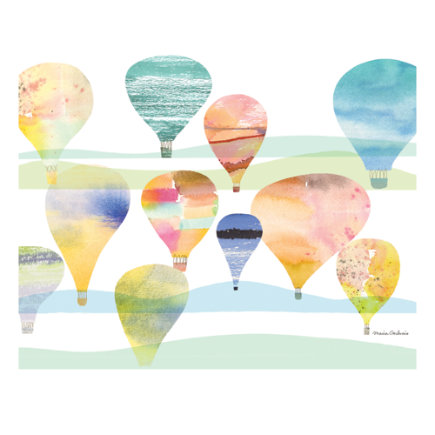 Hot Air Balloon Poster Wall Decal - Balloonscape Poster Decal