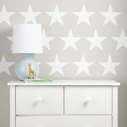 Star Bright Wall Decal (White) - White Star Bright Wall Decal