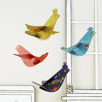 Kids Decor: Colorful Hanging Birds Garland - Aqua  Hang Your Bird High