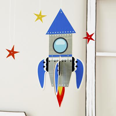 Fly Me Through the Room Hanging Rocket (Blue)