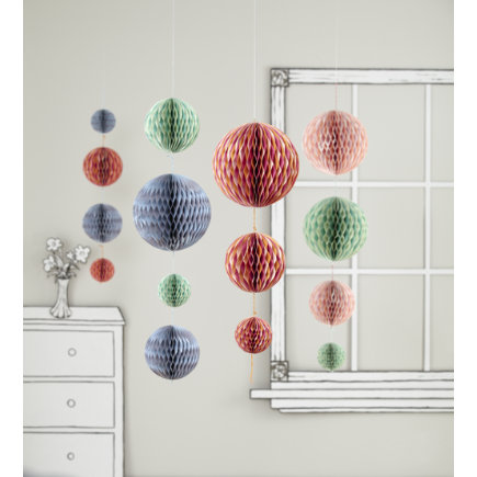 Banners and hanging decor kids room decor - Hanging paper balls decorations ...