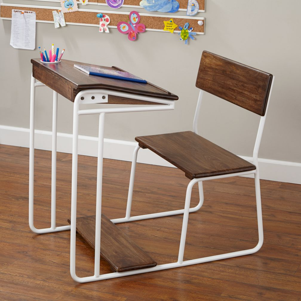 Modern Schoolhouse Desk (White)