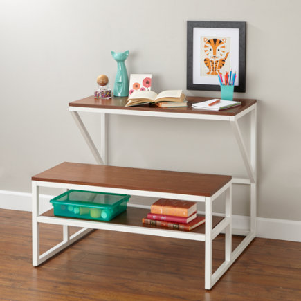 New School Kids Play Table (White) - White-Walnut School Table and Bench