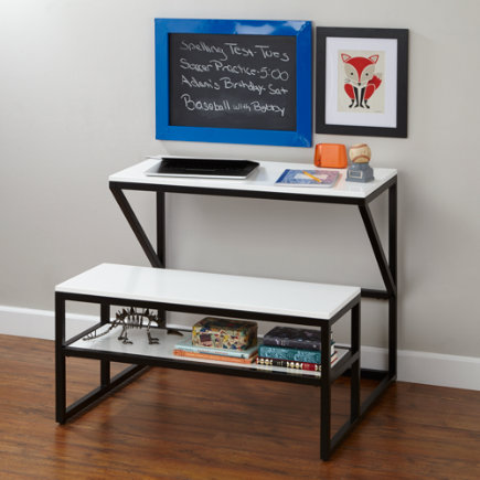 New School Kids Play Table (Black) - Black-White School Table and Bench