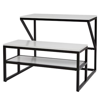 New School Desk With Bench (Black/White)