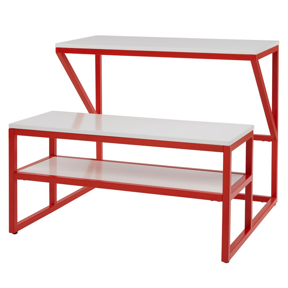 New School Desk With Bench (Red-Orange/White)