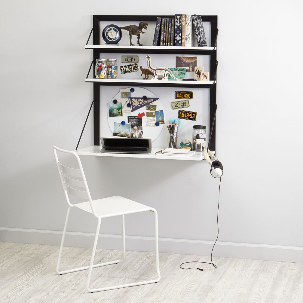 Three Tiers Wall Desk (White/Black)