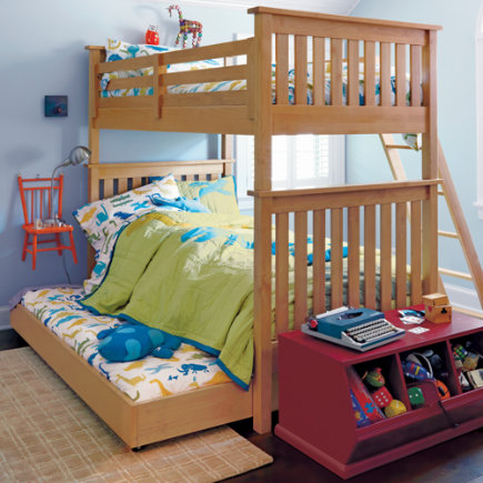 Kids Trundles: Kids Honey Simple Storage Trundle - Natural Simple Trundle Bed